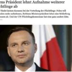 Prezydent Duda odmawia Niemcom przyjęcia imigrantów