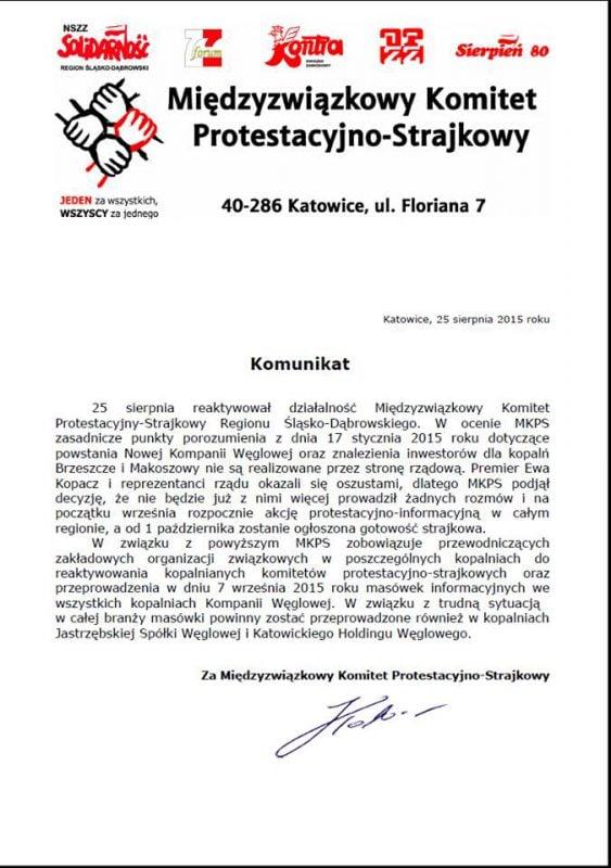 komunikat medzyzwiazkowego komitetu protestacyjno strajkowego