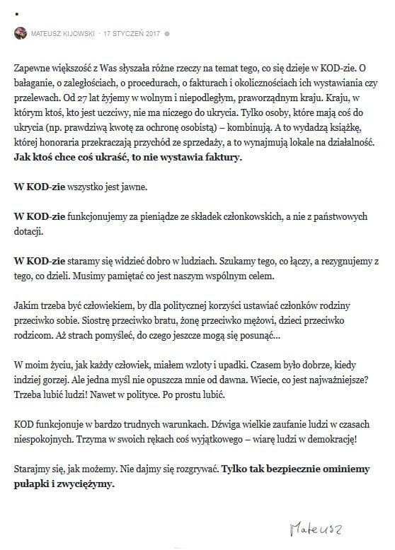 kod wezwal kijowskiego do ustapienia