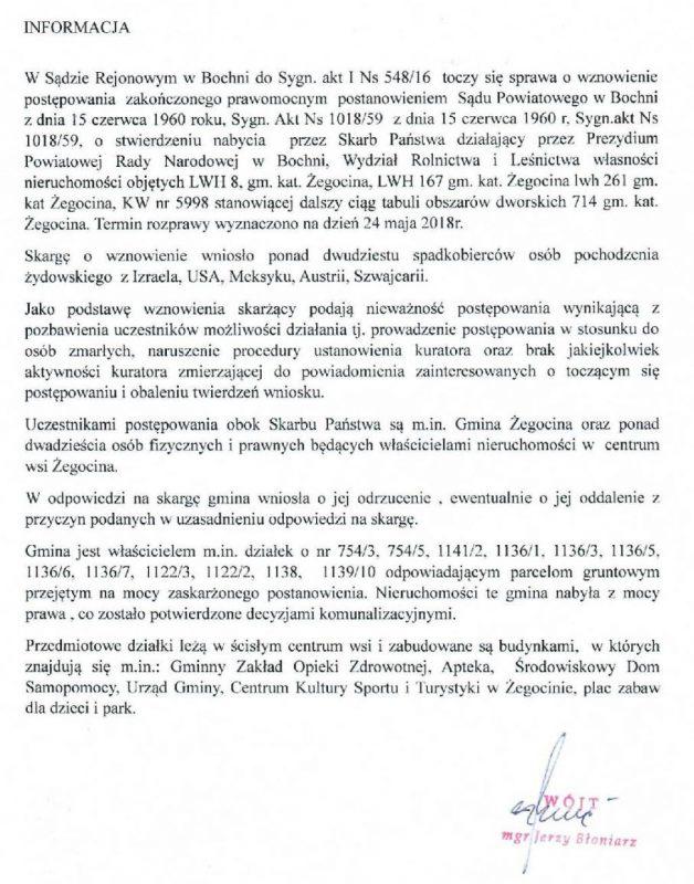 """Żydzi domagają się zwrotu """"połowy miejscowości"""" w centrum Żegociny"""