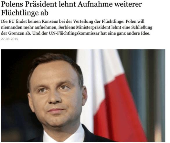 Prezydent Duda odmawia Niemcom przyjęcia od nich imigrantów