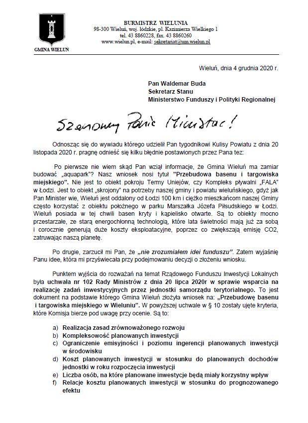 odpowiedz burmistrza wielunia