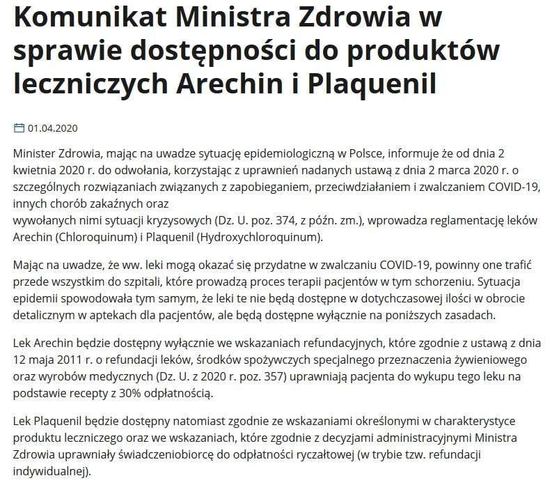Komunikat Ministra Zdrowia w sprawie dostępności do produktów leczniczych Arechin i Plaquenil