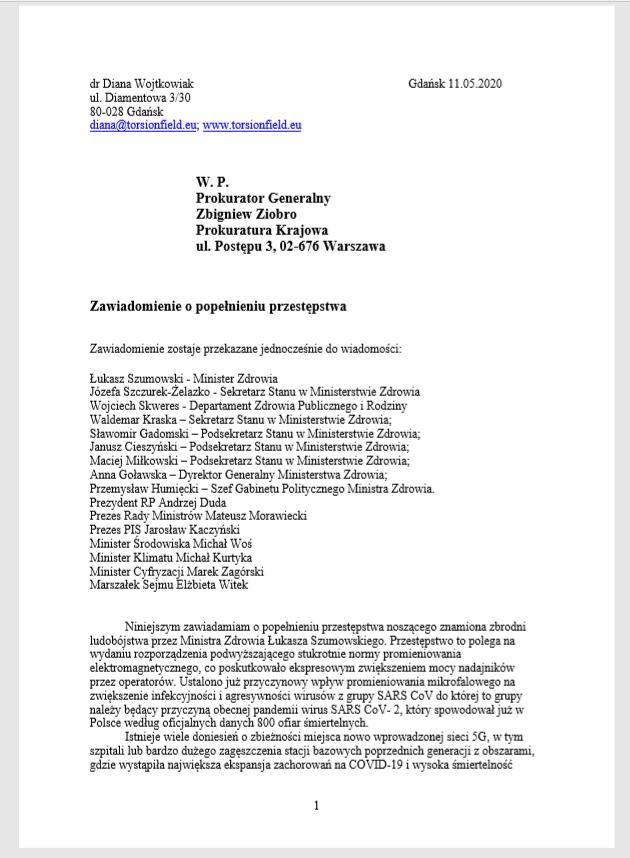 Dr Diana Wojtkowiak: Zawiadomienie o popełnieniu przestępstwa